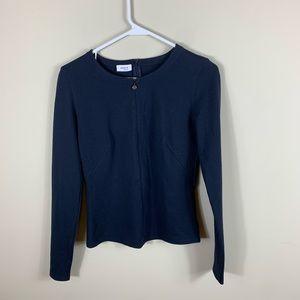 Akris punto navy blue zip down blouse